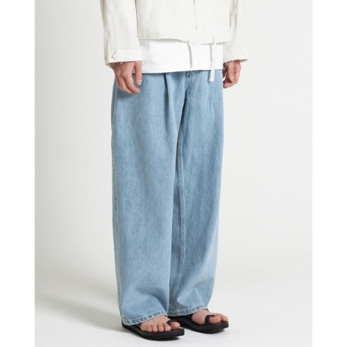 [YOUTH] Structured Wide Denim Pants (Light Blue)