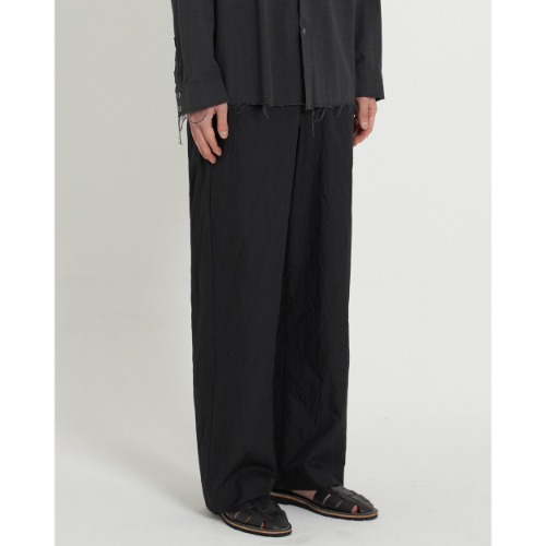 [YOUTH] Crease Wide Pants (Black)