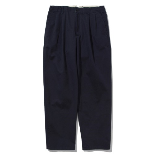 [POTTERY] Two Pleated Wide Chino Pants (Navy)
