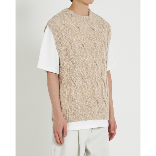 [YOUTH] Twist Cable Knit Vest (Beige)