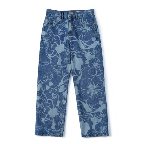 [SHIRTER] Floral Laser Denim Pants (Light Blue)