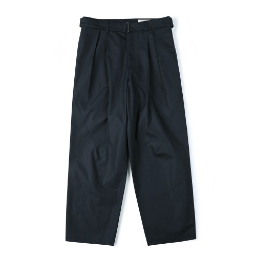 [SHIRTER] Belted Pleats Jar Pants (Navy)