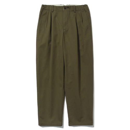 [POTTERY] Two Pleated Wide Chino Pants (Olive)