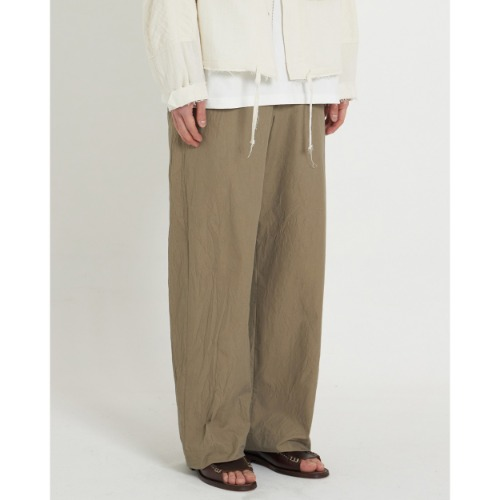 [YOUTH] Crease Wide Pants (Khaki Crease)
