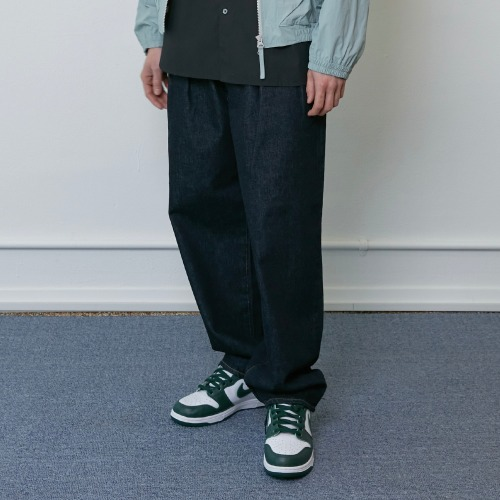 [HORLISUN] Corrigin Wide Loose Denim Pants (Dark Navy)