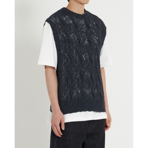 [YOUTH] Twist Cable Knit Vest (Black)