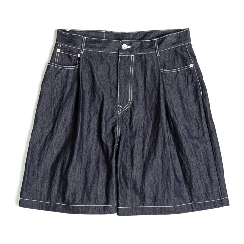 [UNAFFECTED] One Tuck Denim Shorts (Indigo Blue)