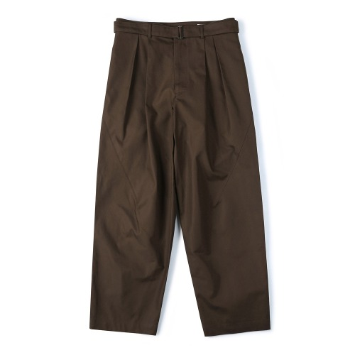 [SHIRTER] Belted Pleats Jar Pants (Dark Brown)