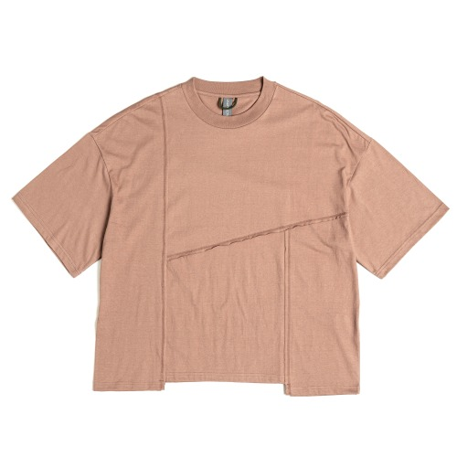 [UNAFFECTED] Contrast Stitch T-Shirt (Salmon)