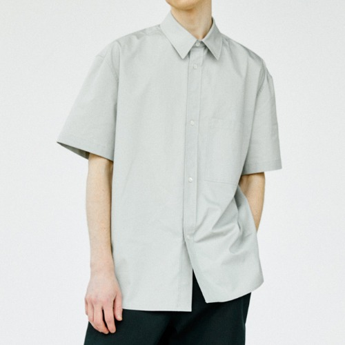 [Art if acts] Solid Pocket Half Shirt (Light Grey)