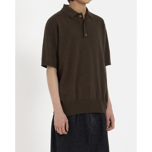 [YOUTH] Knit Collar Half T-Shirt (Brown)