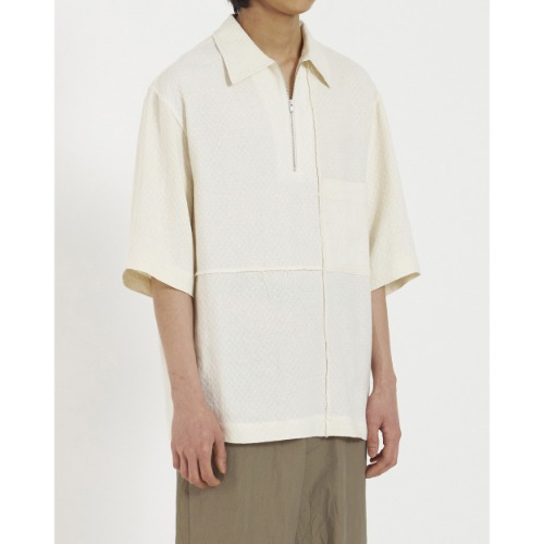 [YOUTH] Zipped Half Shirt (Ivory)