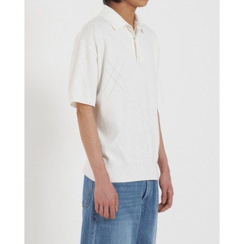 [YOUTH] Knit Collar Half T-Shirt (White)
