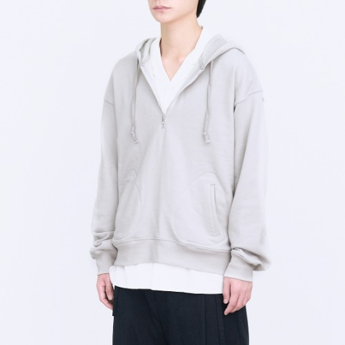 [polyteru] Half Zip Sweat Hoodie (Light Gray)