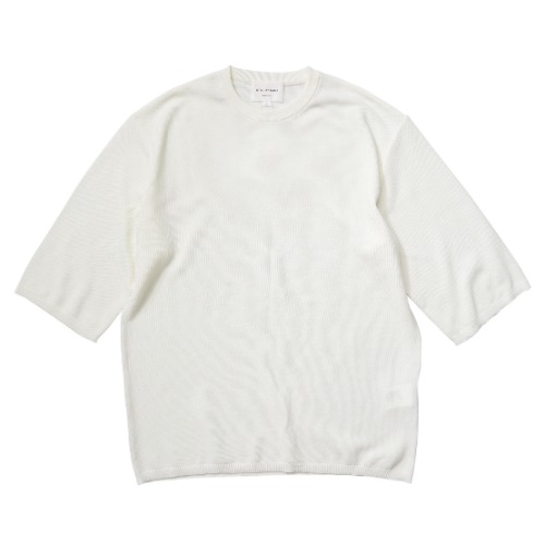 [STILL BY HAND] Half Sleeve Knit T-shirt (Off White)