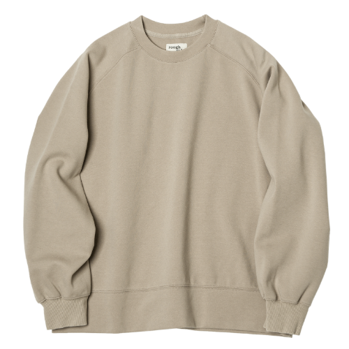 [rough side] Raglan Sweat Shirt (Beige)