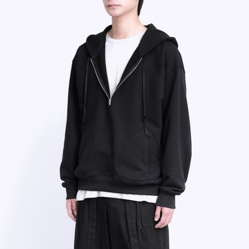 [polyteru] Half Zip Sweat Hoodie (Black)