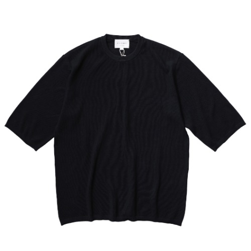 [STILL BY HAND] Half Sleeve Knit T-shirt (Black)