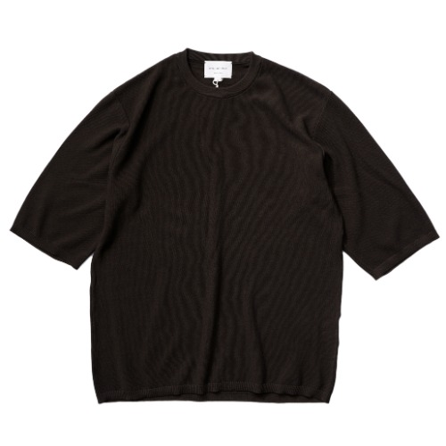 [STILL BY HAND] Half Sleeve Knit T-shirt (Brown)